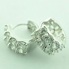 HOOP HUGGIE EARRINGS 18K WHITE GOLD G/F DIAMOND SIMULATED ANTIQUE STYLE FS3AN126