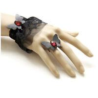 Bracelet femme noir + Bague Réglable strass rouge papillon dentelle Gothique
