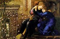 Oil painting Burne-Jones - Love Among The Ruins romantic lovers in landscape