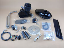 2 Stroke 80cc GAS Bike Bicycle Motorised Engine Kit Black Motor Chrome Muffler