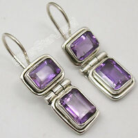 """925 Sterling Silver NATURAL AMETHYST MADE IN INDIA LARGE Earrings 1 1/8"""""""