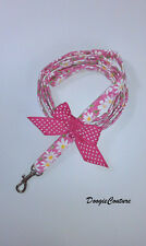 Pink Flowers Dog Leash With Pink Bow 5' by Doogie Couture