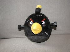 ANGRY BIRDS STUFFED PLUSH BLACK DERANGED BOMB WITH STITCHES & PLASTIC SCREWS