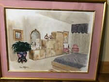 "Original Watercolor Painting  NY Artist Tom Pepper  Interior View '94 18"" By 22"""