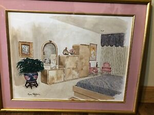 """Original Watercolor Painting  NY Artist Tom Pepper  Interior View 93' 18"""" By 22"""""""