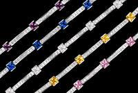 11TCW Princess Gemstone Created Diamond Tennis Bracelet Real 925 Sterling Silver