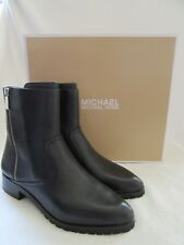 Michael Kors Andi Flat Black Leather Ankle Bootie BOOTS Shoes Size US 8.5 M NWB