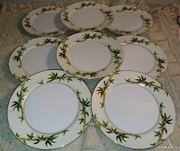 "Set of 8 Kent Japan Bali Hai 7.5"" Salad Plates Bamboo On Cream Band Gold EUC"