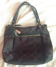 COACH Extra Large XL Black Sateen Jacquard Poppy Glam Metallic Signature C Tote!