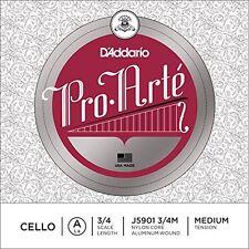 D'Addario Pro-Arte Cello Single A String, 3/4 Scale, Medium Tension