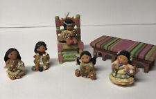 Pre-Owned Enesco Friends of the Feather Lot 5 Figurines Chair And Bench
