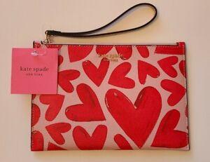 Kate Spade Pink Heart Wristlet Spencer Ever Fallen Small Pouch Handbag Wallet