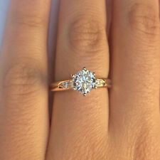 10k Festgelbgold 1.5ct Rund Diamant Solitaire Engagement Hochzeit Ring