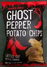 TRADER JOES Ghost Pepper Potato Chips Lattice Cut Kettle Cooked 7oz. (198g) RARE