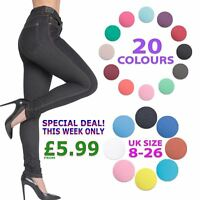 Womens Ladies High Waisted Skinny Stretchy Coloured Jeggings Trousers Pants 8-26