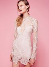 Free People Women's Leondra Mini Bodycon Nude Lace Dress Size Large Saylor $250
