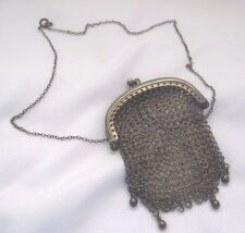 Antique Sterling Silver Chatelaine Mesh Purse Necklace Victorian Coin Purse