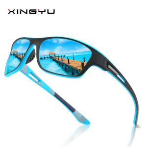 Classic Mens HD Polarized Sunglasses Wrap Around Cycling Sports Sun Glasses Male
