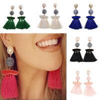 Women New Fashion Boho Earrings Long Tassel Fringe Boho Hook Drop Dangle Earring