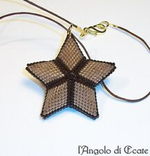 Idea regalo collana ciondolo pendente STELLA artigianale fatta a mano marrone