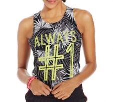 Material Girl Active Juniors' Printed Crew-Neck Crop Top, Black/White, XL