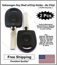 2pak: Volkswagen VW Aftermarket Key Shell w/Chip Holder! (No Transponder Chip)