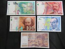 Lot de 5 billets Dernière Gamme : 20 / 50 / 100 / 200 / 500 Francs Curie SUP