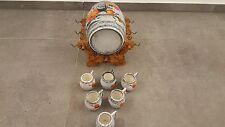 Schnapsfass im Ständer mit 6 Schnapshäferl St Peter Keramik emailmalerei