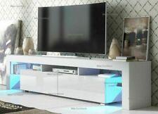 White TV Unit Cabinet Stand - Matt body & High Gloss Doors - Large 200cm
