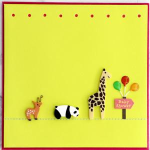 Papyrus Card  Baby Shower - Wooden Giraffe, Polar Bear, Deer w/ Wire Antlers