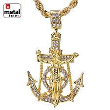 """Men's Hip Hop Mini Anchor Jesus Cross Pendnat 24"""" Rope Chain Necklace Set"""