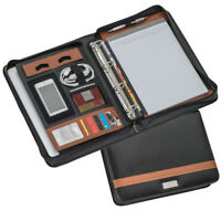 AKTENMAPPE DIN A4 mit Ringbuch und Griff in schwarz / braun aus Lederfaserstoff