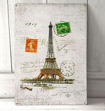Vintage Paris Eiffel Tower sign A4 metal plaque Shabby Chic