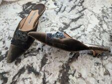 Manolo Blahnik Army Green Velvet Pointed Toe Kitten Heel Mule Shoes Size 37.5