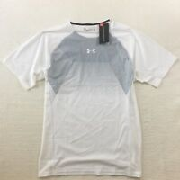 New Under Armour Men's Threadborne Compression Active Tee White/Grey 2XL 3XL $45