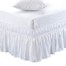 Meila Three Sides Wrap Around White Ruffled Queen/King Bedskirt New