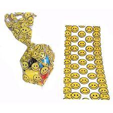 """24 Smiley Smile Face Cello Goody Bags Loot Party Favor Classroom 11"""" x 5"""" Yellow"""