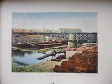 FINISTERE:Gravure 19°in folio couleur/ BREST: LE PONT TOURNANT