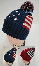 12 PC Stars Stripes Beanie PomPom Hats Patriotic Winter Toboggan w POM