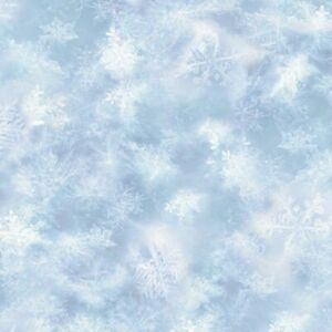 Hoffman Call of the Wild Light Blue Snowflake Quilt Fabric By the HALF Yard