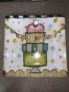DEMDACO By Lisa Kaus Square Celebrate Cup Cake Platter From 2010 12x12 Inch