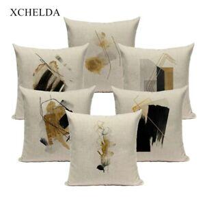 Abstract Art Linen Throw Pillowcase Cushion Cover Yellow Home Decor for Sofa Bed