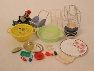 Kinder Küche Kaufmannsladen Puppenhaus Spielzeug Sieb Teller Tasse Körbe Puppe