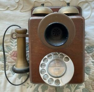 Antique Vintage Wooden Wall Telephone