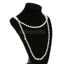 Vintage Long White Pearls Necklace Flapper Girl Party Fancy Dress Costume