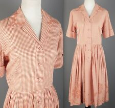 VTG 50s 60s Orange Cotton Gingham Embroidered Shirtwaist Dress #1476 1950s 1960s