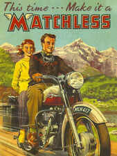 Vintage Matchless motorcycle poster ad reproduced on steel sign biker decor