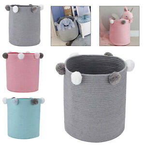 Toy Hamper Pompom Laundry Washing Clothes Storage Basket Bin Foldable Large NEW
