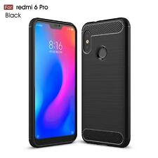 For Xiaomi Mi A2 Lite Case Carbon Fibre Gel Cover & Glass Screen Protector