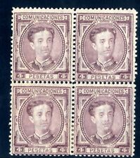 Sellos de España 1876 nº 181 4 pesetas Alfonso XII Bloque de cuatro Nuevos
